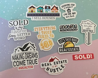 Realtor Stickers Real Estate gift ideas Vinyl Matte Home sold