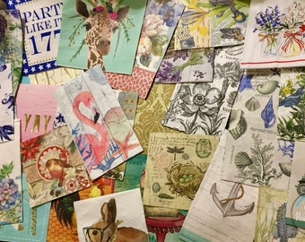 Napkins for Decoupage, Mixed Set of 10, Paper Napkins, Junk Journaling, Collaging, Mixed Media, Altered Art