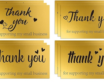 50 Gold Thank you cards