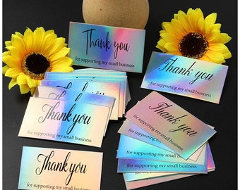100 Holographic Thank you cards