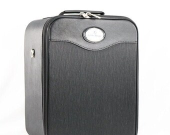 Adolfo Design Black Compact Wig Box / Wig Case with shoulder strap - 13'' Height