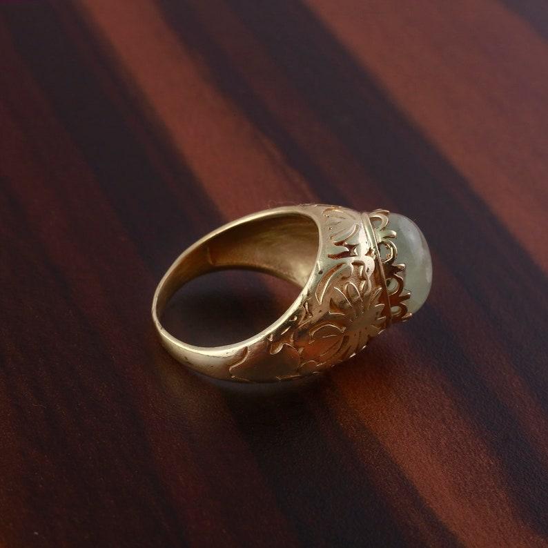 Brass Handmade Ring Brass Prehnite Ring,Sterling Brass Ring,gifts for new mom,brass jewelry Oval Ring Prehnite brass ring,Beautiful Ring