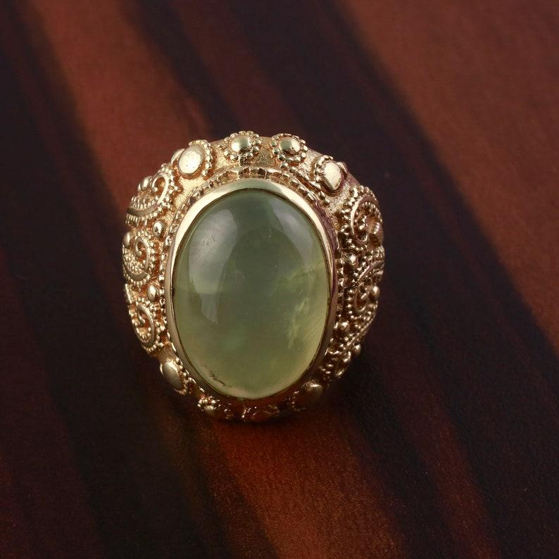 Women Ring,Prehnite Stone,Boho ring Prehnite Ring Brass ring Gift For Her,deco ring Handmade Ring Prehnite Engagement ring Women Ring
