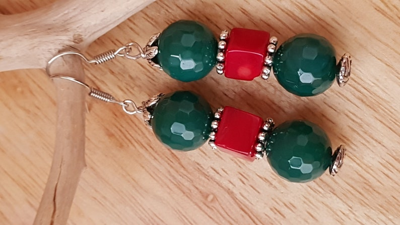 Christmas Gift for Women Christmas Agate Coral Earrings Green Agate and Red Coral Earrings 5.8 cm2.28