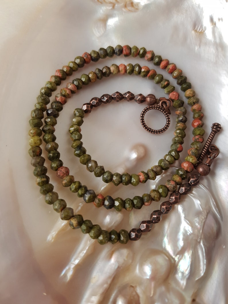 Unakite Necklace 16 Mother/'s Day Gift Minimalist Unakite Beaded Necklace 41 cm