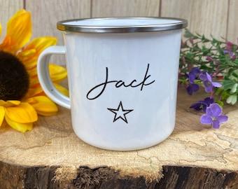 Personalised Enamel Star Mug, Star mug, Children's mug, Gift for Kids, lockdown gift, Enamel Mug