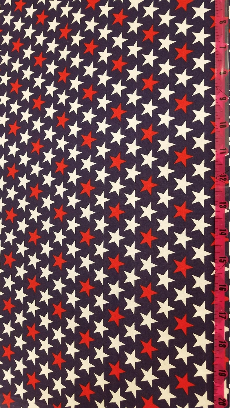 White Bold StarsGeometric FABRIC Red Patriotic FREE SHIPPING fabric by the yard or half yard Blue 100/% Cotton Fabric