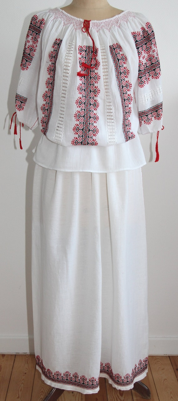 Romanian vintage hand-embroidered costume