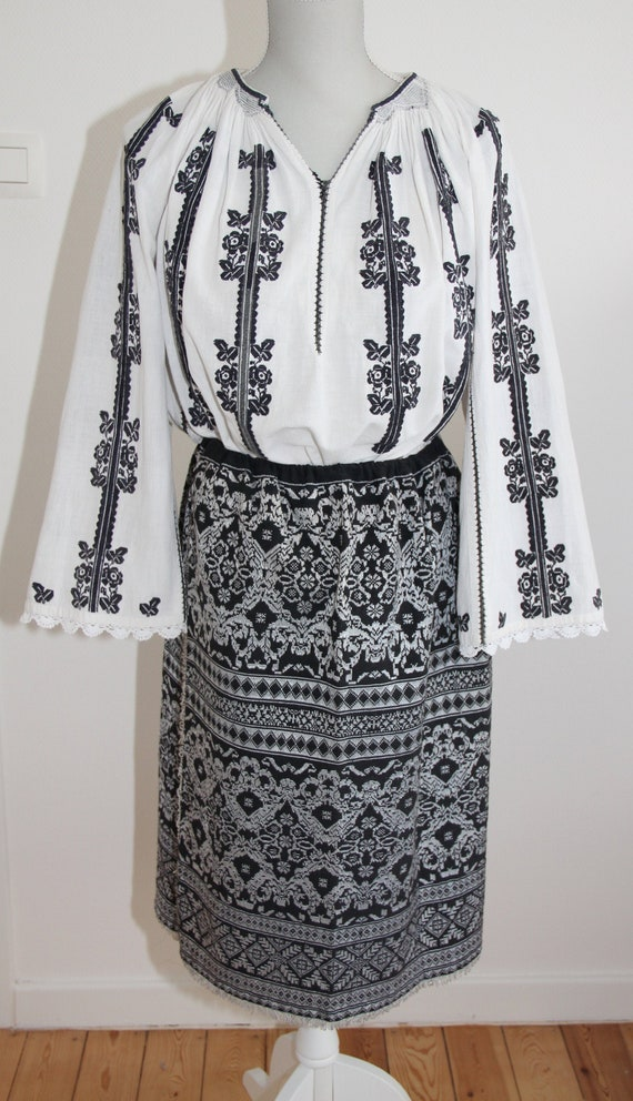 Vintage Romanian traditional blouse with embroider
