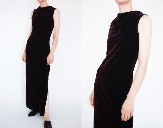 Long vintage purple velvet dress