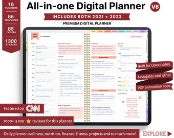 Goodnotes planner, ipad planner, notability planner, Digital journal, daily digital planner, 2021 2022 planner digital Dated Digital Planner
