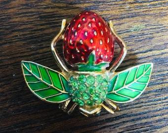 Joan Rivers Strawberry Bee Brooch/Pin Enamel Vintage Signed Austrian Crystals