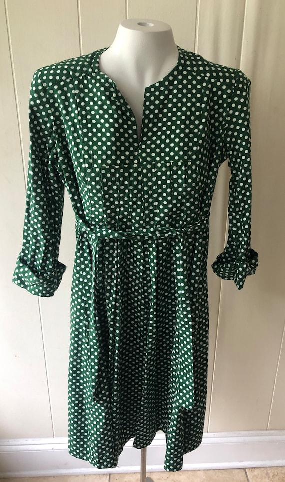 Vintage Polka Dot Green Dress 1970s