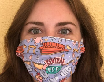 FRIENDS - Central Perk - Fabric Face Mask, Cotton, Handmade. Nose Wire Option Available