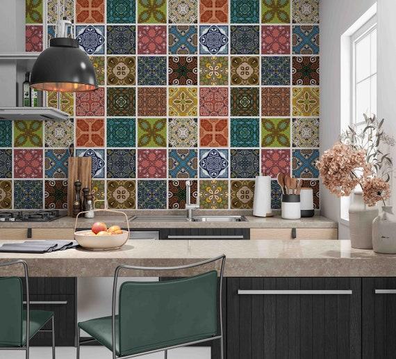 Multicolor Moroccan Square Floral Tiles Sticker Kitchen Bath Etsy