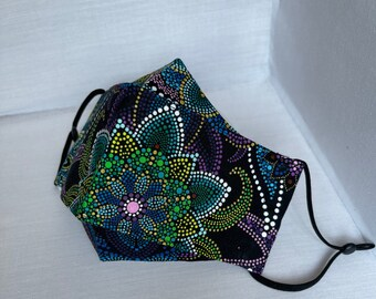 Mandala 3D Face Mask, Lightweight and Breathable, for Students/Teachers Back to School,Adjustable Ear Straps, Sewn-in Filter, 100% Cotton