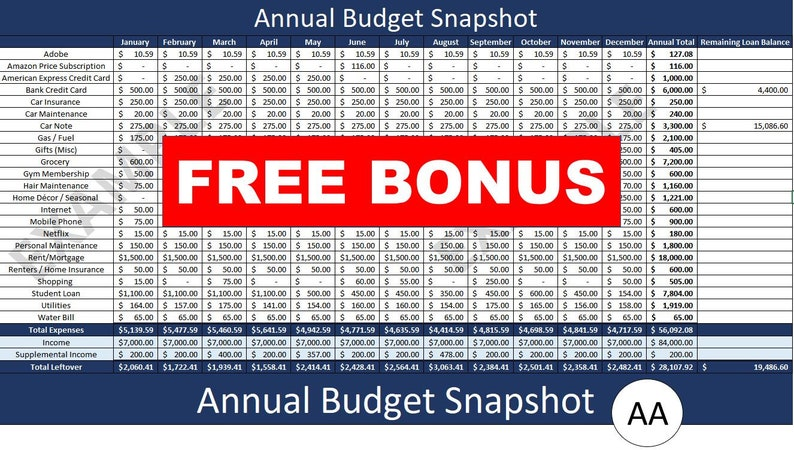 2021 Annual Budget Spreadsheet image 0
