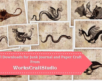Magical Creatures Vintage TAGS Journal Kit Prints Pictures Tags Digital Downloads Printable Journal DIY Paper Crafting Instant Download