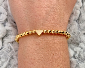 5 available Silver plated stretch silver /& gold heart charm bracelet ~ NEW