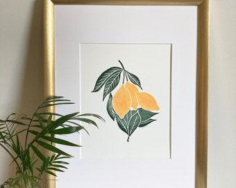 Block Print | Linocut | Lemon Print | Kitchen Print | Housewarming Gift | Modern Farmhouse Decor | Modern Farmhouse Kitchen | Nursery Decor