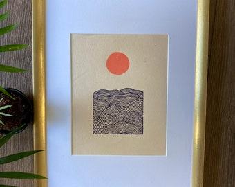Mountain Print | Mountain Art | Block Print | Block Print Mountain | Linocut | Mountain Decor