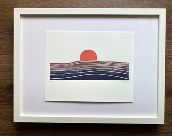 Sunrise print | sunset print | horizon print | ocean print | block print | minimalist print
