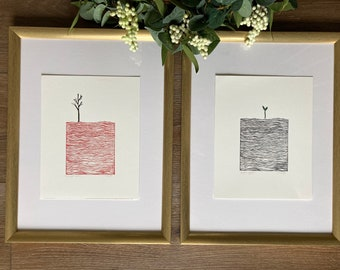 Set of 2 Block Prints | Linocut | Minimalist Art | Abstract Art | Mid-Century Modern Art | Waves Print | Japanese Print