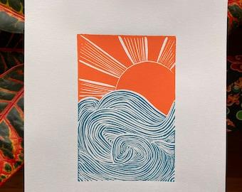 Wave Print | Ocean Print | Beach Print | Surf Print | Sunrise Print | Sun Print | Wave and Sun Print