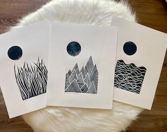 Set of 3 Block Prints | Linocut | Minimalist Art | Abstract Art | Mid-Century Modern Art | Waves Print | Nursery Prints | Nursery Decor