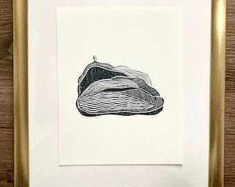House Print | Hill Print | Bluffs Print | Block Print | Linocut | Home Decor | Mountain Print | House on a Hill Print