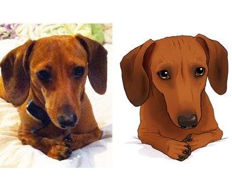 Custom Pet Portrait - Cartoon Realism Illustration