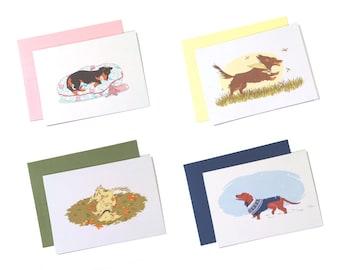 Doxie Notecards Set - Dachshund Seasons