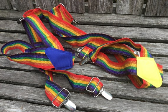 Rainbow suspenders, 1970's rainbow Pride suspende… - image 3