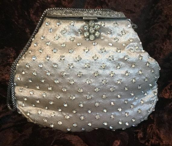 Vintage Lame and Rhinestone Evening Handbag, silve