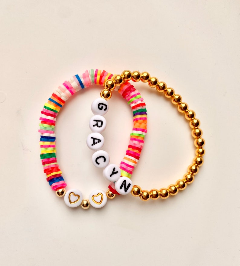 Toddler Jewelry Gift For Girls Kids Gold Beaded Bracelet Gold Letter Bracelet Kids Name Bracelet Personalized Name Bracelet