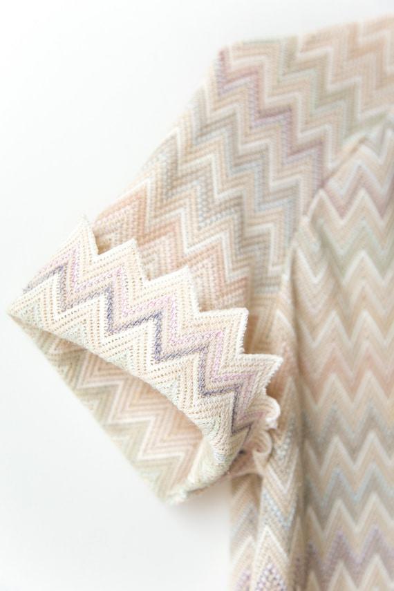 1970s Pastel Chevron Knit Dress - image 3