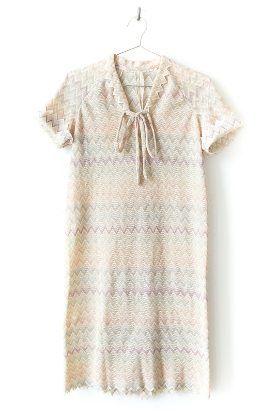 1970s Pastel Chevron Knit Dress - image 1