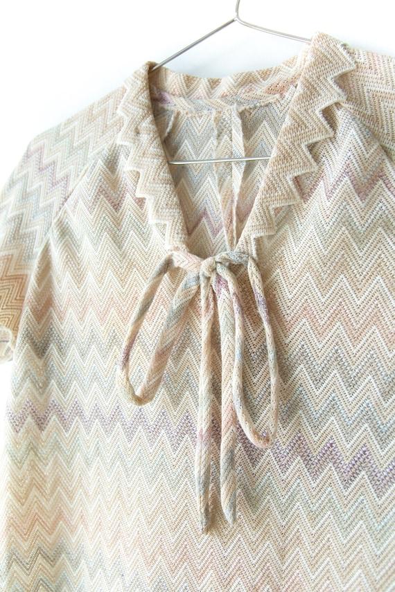 1970s Pastel Chevron Knit Dress - image 5