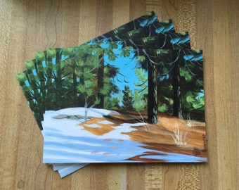 Snow in Retreat Greeting Card pkg of 6