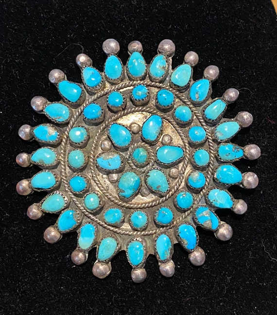 Turquoise & Sterling Round Star Pin