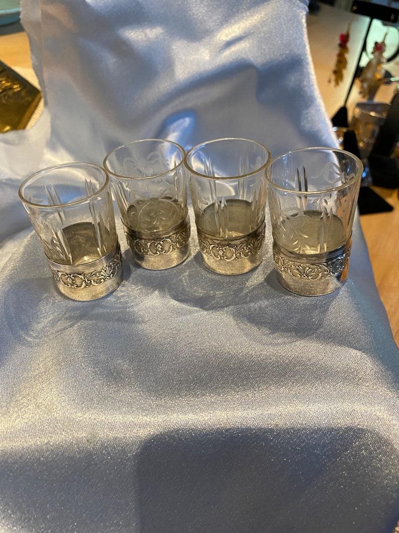 4 Engraved Crystal Shot Glasses Enrobed in Sterling Silver at bottom