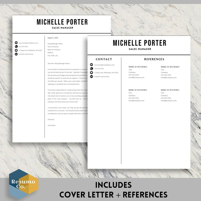 Instant Download Pages 2 Page Resume Simple CV Template Professional Resume Template 1 Modern Resume Cover Letter Template for MS Word