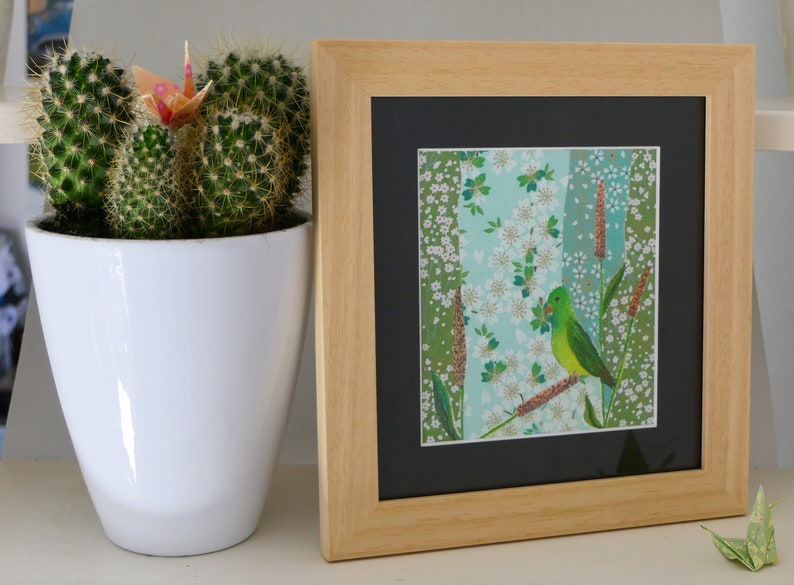 Unique Creation with Frame An original gift Parakeet  Pastel