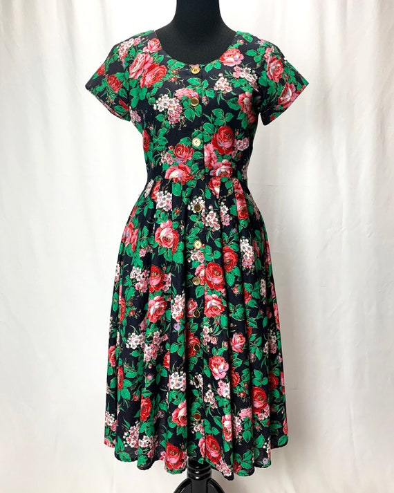 Betsey Johnson 1980/'s Floral Print Beachwear Sun Dress
