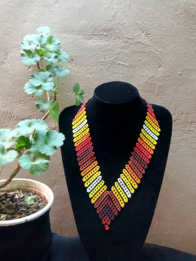 African beaded colorful necklace handmade tribal statement maasai jewellery