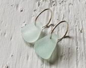 Sterling Silver Sea Glass Hoop Earrings