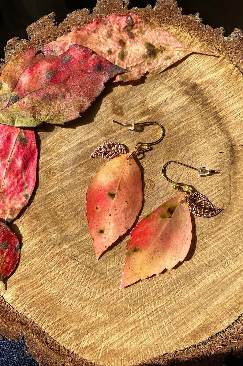 Leaf Earrings  Resin Art  Nature Jewelry