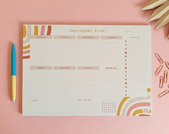 Weekly Planner Pad | Abstract Rainbow Week Plan with Habit Tracker | Desk Planner | Family Planner | Notepad | WFH To Do Pad