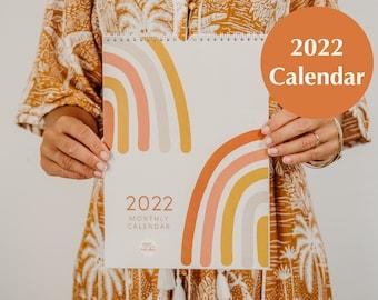 2022 Wall Calendar   Abstract Rainbow Monthly Calendar   2022 Illustrated Art Calendar