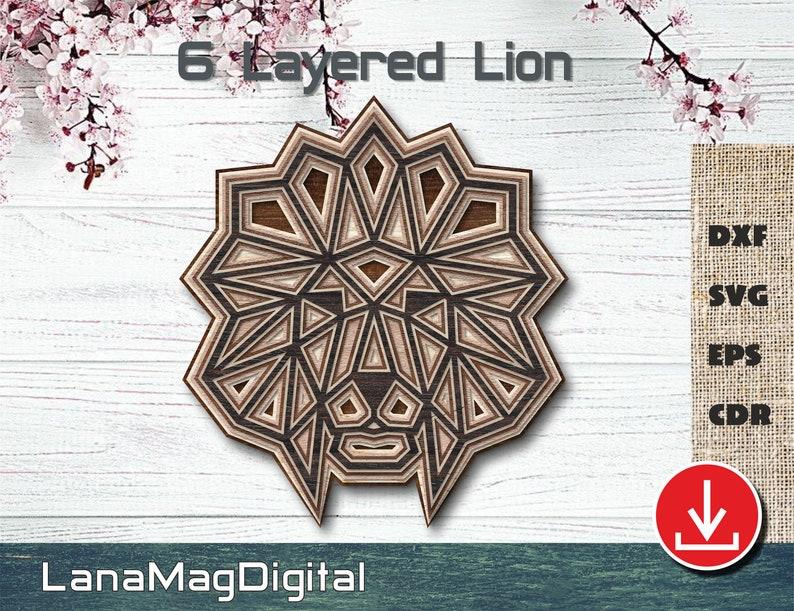 Download 6 Layered Lion Head Mandala SVG DXF EPS cdr digital file ...